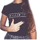 Lisingtool Women Letter Printing Short Sleeve Cotton Blouse Tops T-Shirt (Medium)
