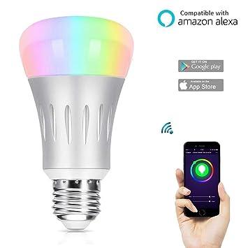 axusndas Bombilla LED WiFi Inteligente, Bombilla de Cambio de Color E27, Funciona con Amazon
