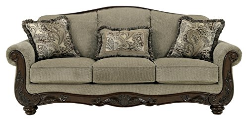 Ashley Furniture Signature Design - Martinsburg Sofa - Traditional Couch - Meadow with Brown Base ()