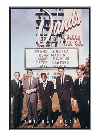 (22 X 34) Frank Sinatra and the Rat Pack Sands Casino Las Vegas Quality Framed poster (Rat Pack Framed)