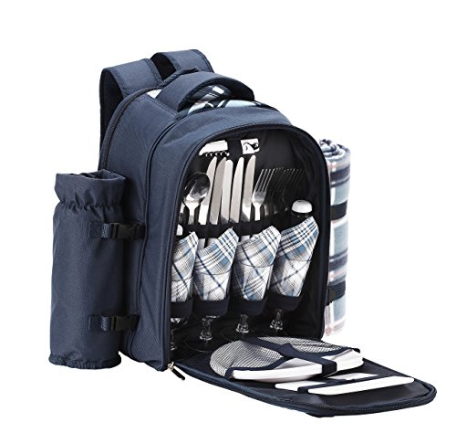 Blue Tartan Picnic Backpack