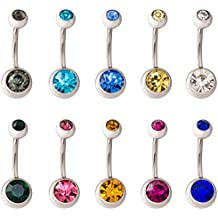 ModestLuxury Belly Bar Ring Hypoallergenic Surgical Steel Double Crystal Gem Navel Button Ring Body Piercing Jewelery