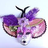 YUFENG Purple Flower Hat Jolly Venetian Masquerade Mask Mardi Gras Carneval Party
