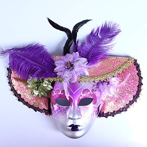 Purple Flower Hat Jolly Venetian Masquerade Mask Mardi Gras Carneval Party