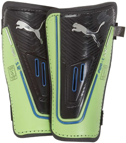 Puma Youth Powercat 5.12 Shin Guards, Black/Jasmine Green/Monaco Blue - Large