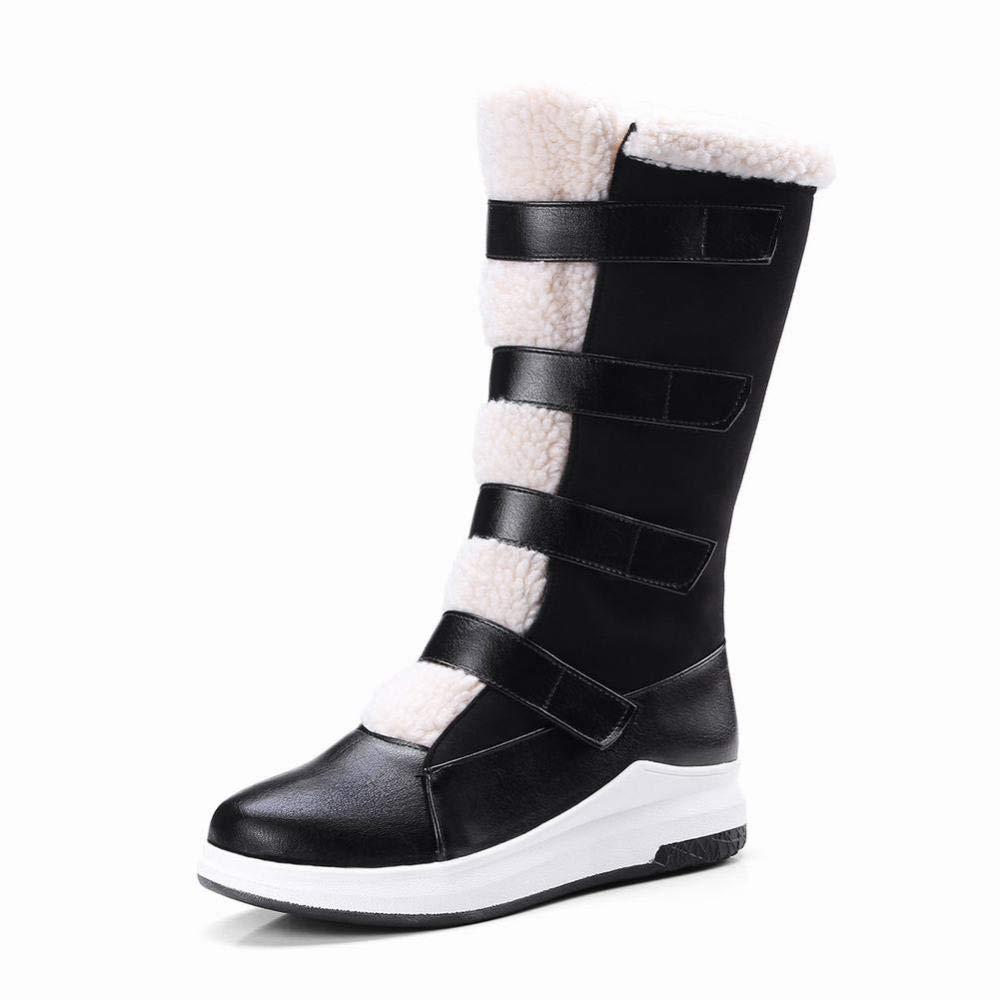 XZ Damenstiefel - Herbst Und Winter Rutschfeste Warme Schneeschuhe Mittelrohr Stiefel Plus Samt Niedrige Ferse Nubukleder Stiefel 33-43