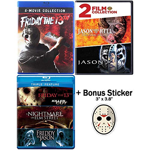 Friday the 13th: Ultimate Blu-ray / DVD Collection - Complete Movies 1-12 (Movies 9-10 in DVD Format - All Other Content in Blu-ray) + Extra Movie + Bonus Sticker
