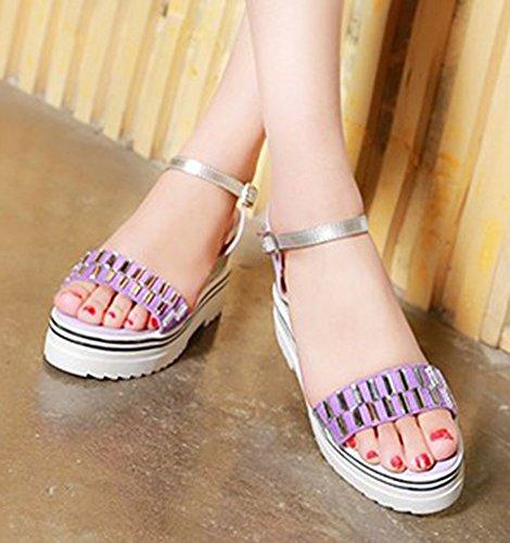 Aisun Womens Stylish Rhinestone High Heel Buckle Dress Open Toe Wedge Sandals Platform Heels Shoes With Ankle Straps Purple 7auT1qM3