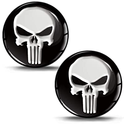 2 x 3D Domed Silicone Stickers Decals The Punisher Skull Car Motorcycle Helmet KS 1: Automotive