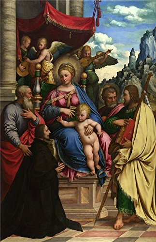 'Girolamo Da Treviso The Madonna And Child With Angels Saints And A Donor ' Oil Painting, 8 X 12 Inch / 20 X 31 Cm ,printed On Perfect Effect Canvas ,this Art Decorative Prints On Canvas Is Perfectly Suitalbe For Living Room Artwork And Home Artwork And Gifts