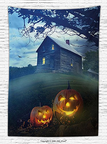 Halloween Decorations Fleece Throw Blanket Rustic Wooden Haunted House Landscape in Misty Valley with Scary Pumpkins in the Dawn Throw Blanket for es Multi