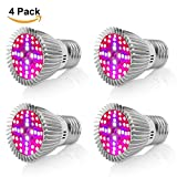 Led Grow Light Bulb,Derlights 40W E26 Full Spectrum Led Grow Light Bulb, SMD2835 Grow Plant Light for Indoor Garden Greenhouse and Hydropoics Greenhouse Organic,Pack of 4