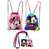 (4ct) Mickey & Minnie Mouse Drawstring Backpack and Id Holder Lanyards by Disney