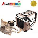 PET4FUN PN950 Foldable Pet Puppy Dog Cat Carrier & Travel Crate w/ Premium 600D Oxford Cloth, Strong Steel Frame, Carry Bag, Locking Zippers, Washable Nap Pad, Room Airy Windows (Small/Brown)