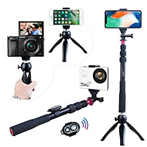 Selfie Kit,Andoer Selfie Stick + Mini Tripod + Phone Tripod Mount + Wireless Remote Control for iPhone X/8/7 Plus Samsung S8 GoPro Hero 6/5/4/3+/3 Action Camera Digital Video Camera Photo Video