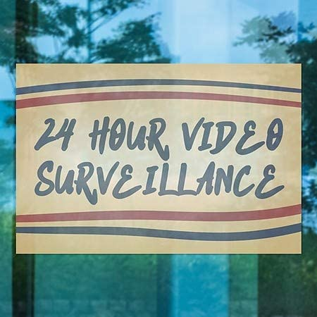 24 Hour Video Surveillance Nostalgia Stripes Clear Window Cling 30x20 5-Pack CGSignLab