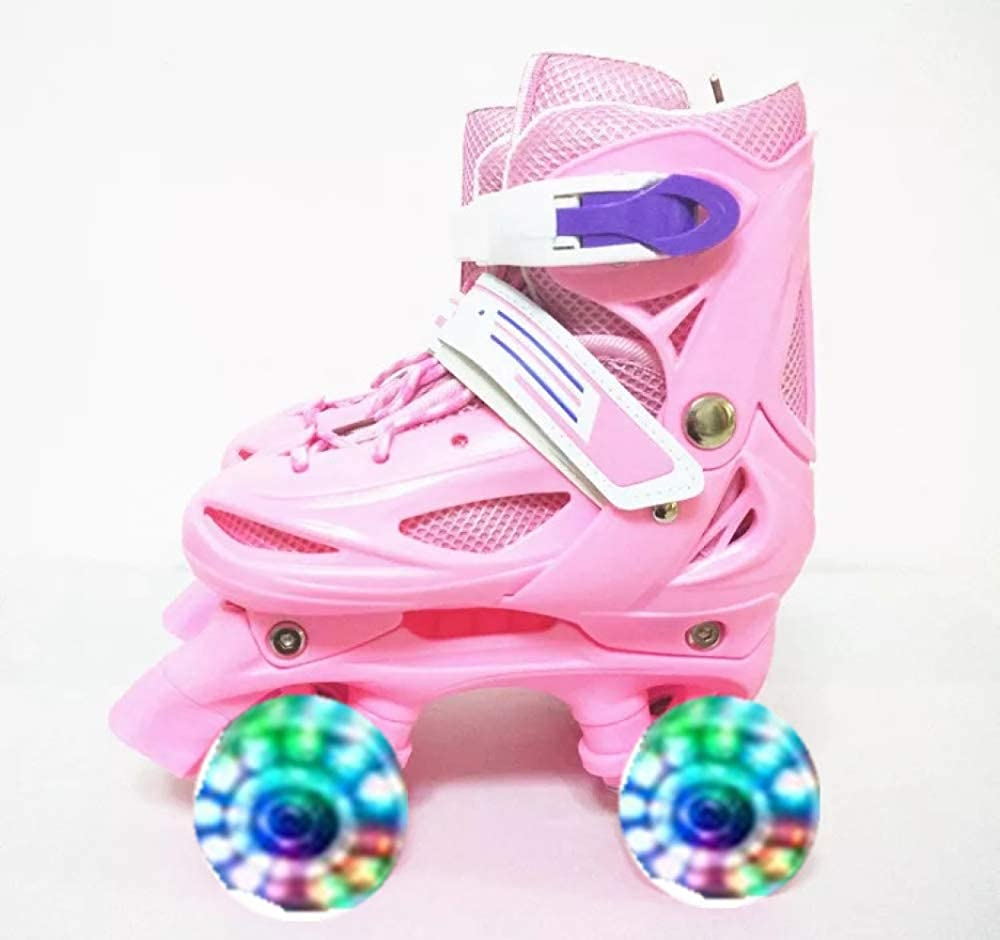 [ZCRFY] ローラースケート男の子女の子2行ローラーダブル行4ホイール調整可能なインラインスケート子供初心者フラッシュスケート靴2-12歳 ピンク XS