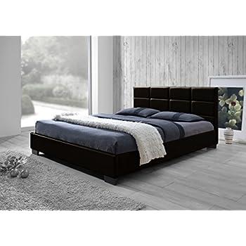 baxton studio vivaldi modern and dark brown faux leather padded platform base full size bed frame