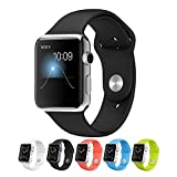 Apple Watch Band,Teslasz Soft Silicone Replacement Sport Wristbands Straps for Apple Watch (Black 42 MM)
