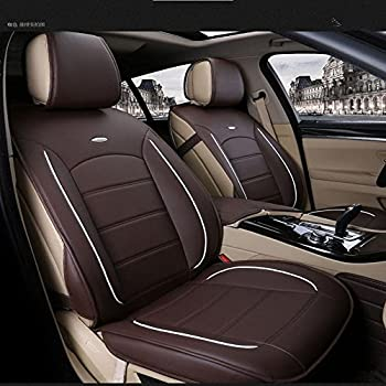 Image of Amooca Luxurious Airbag Compatible Universal Full Set Needlework PU Leather Dacron Fabric Front Rear Car Seat Cushion Cover for EcoSport Focus Jetta Tiguan Coffee 6pcs Seat Covers