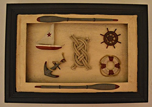 Beautiful Wood Shadow Box Decoration with Hanging Option. Measurements Are 13 X 9 X 1 1/2 Sailor Theme Memory Box Has Decorations Including Miniature Sailboat, Rope, Ships Steering Helm, Anchor, Life Preserver, and Oars with Blue Border