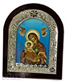 Jerusalem Virgin Mary & Baby Jesus 8.7'' Icon Handmade Wall Picture Christian Plaque