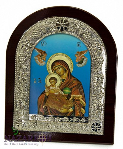 Jerusalem Virgin Mary & Baby Jesus 8.7'' Icon Handmade Wall Picture Christian Plaque by Holy Land Gifts