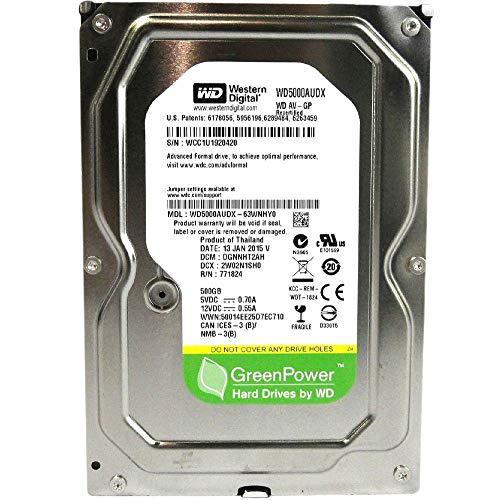 WESTERN DIGITAL WD5000AUDX AV-GP Green 500GB 32MB cache SATA 6.0Gb/s 3.5 internal hard drive (Bare Drive) (Renewed) ()