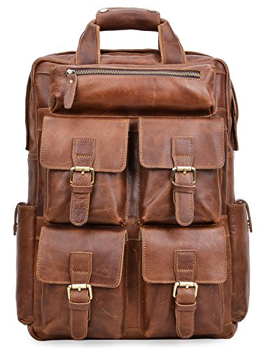 ALTOSY Genuine Leather Backpack Men Vintage Travel Casual School Bag 6827 (brown) by Altosy