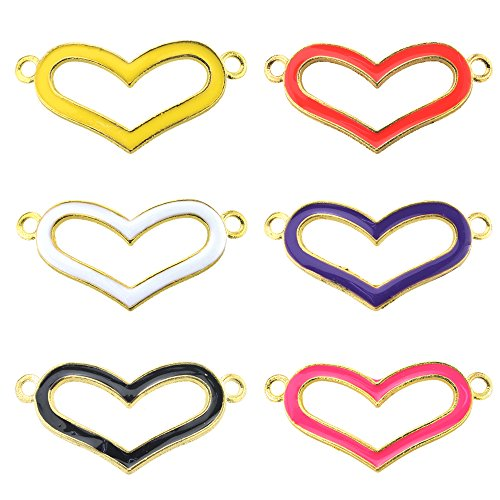 BEADNOVA Summer Hot Colorful Heart Shape Enamel Bracelet Connector Charm for Friendship (Heart Bracelet Connector)