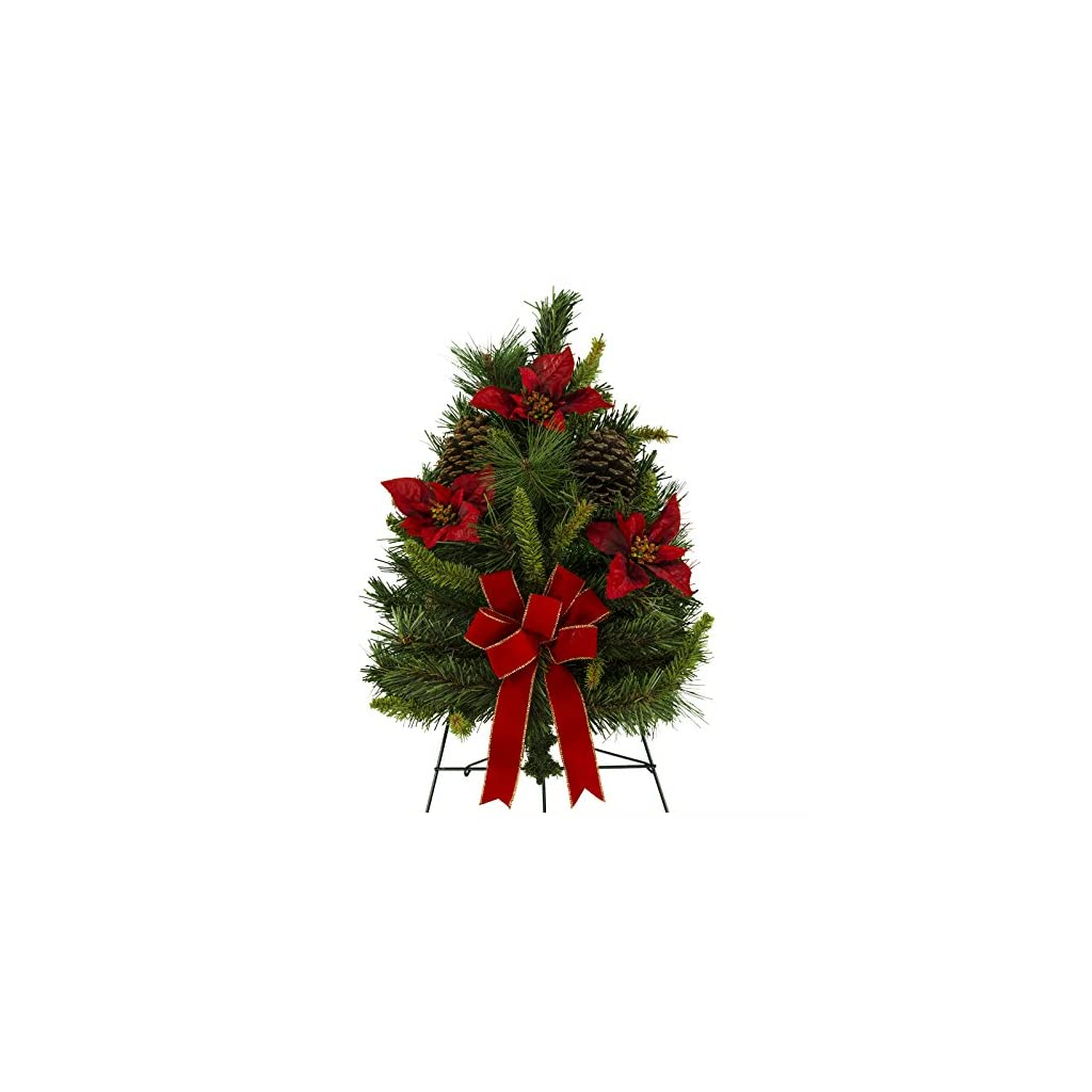 24 Inch Artificial Christmas Tree With Poinsettias, Pine Cones, and Hand Tied Red Bow on 30 Inch Easel (TR1662)