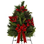 24-Inch-Artificial-Christmas-Tree-With-Poinsettias-Pine-Cones-and-Hand-Tied-Red-Bow-on-30-Inch-Easel-TR1662