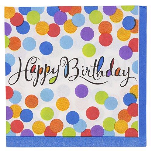 Napkins Bash Luncheon - JAM PAPER Birthday Party Lunch Napkins - 6 1/2 x 6 1/2 - Confetti Bash Design - 36 Napkins/Pack