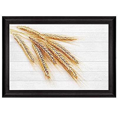 Dazzling Design, Branches of Wheat Over White Wooden Panels Background Nature Framed Art, Premium Creation