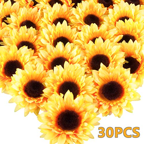 Meiliy 30 Pcs Artificial Sunflower Heads 3.5 Inch Silk Sunflowers for DIY Wedding Table Centerpieces Home Kitchen Wreath Hydrangea Cupcakes Topper Decorations