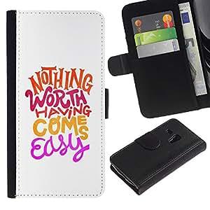 KingStore / Leather Etui en cuir / Samsung Galaxy S3 MINI 8190 / Hippie Funky motivación minimalista
