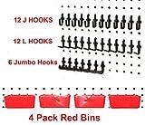 JSP 34 PIECE Peg Board Organizer Storage Pack Locking Hooks and Bins Kit 12 J Hooks + 12 L Black Hooks + 6 Jumbo Black Hooks and 4 Red Bins