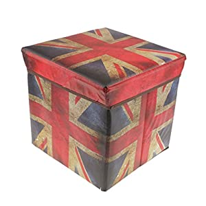 Free Shipping MonkeyJack Non Woven Fabric Folding Storage Stool Ottoman Cube  Storage Box Union Jack