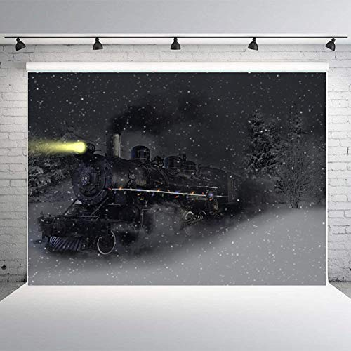 Fanghui Photography Backdrops Polar Express Background Snowflake Photo Studio Props Banner Christmas Party Xmas Holiday Decoration Backdrops Vinyl 7x5ft