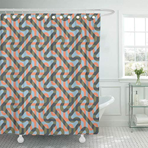 Emvency Fabric Shower Curtain with Hooks Greek Modified Cross Tee Pattern Key Geometric 72