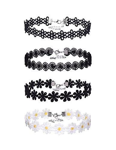 - Mudder Lace Choker Necklaces Vintage Gothic Tattoo Choker for Women Girls, 4 Pieces