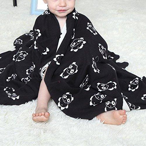 Brandream 100% Cotton Baby Toddler Blanket Soft Knitted Reversible Kids Bed Blanket Oversize 40''x50'', Panda print White & Black