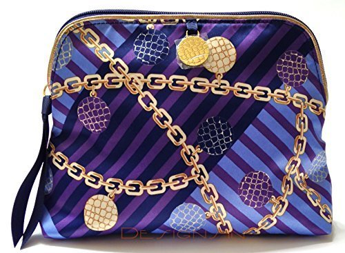 Estee Lauder Blue and Gold Signature Print Cosmetic Bag (Estee Lauder Makeup Bag)
