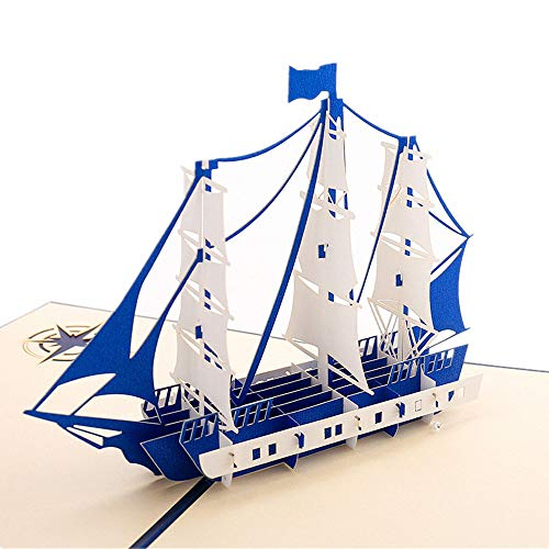 Set of 2 Sailing Boat Pop Up Cards Greeting Cards for Congratulation, for Special Day,Valentine's Day, Birthday or Wedding Congratulation, with Envelope (Navy) (Valentine Cards Nautical)