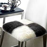 Noahas Faux Fur Sheepskin Silky Seat Cushion, Home Decor Long Wool Area Rugs Carpet, Soft Fluffy Plush Chair Seat Pads Universal Fit Home Office Restaurant Chair (16 x 16, Style-1)