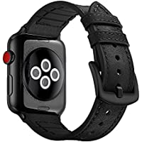 Hybrid Sports band compatible with Apple Watch vintage Leather Bands Black Replacement straps Sweatproof classic dress iwatch series 4 3 2 1 nike space black 44mm 42mm men women HB (44mm/42mm - Black)