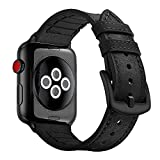 Hybrid Sports Band for Apple Watch Vintage Leather Bands Black Replacement Straps Sweatproof Classic Dress iwatch Series 1 2 3 Nike Space Black Grey Gray 42mm Men Women HB (42mm - Black)