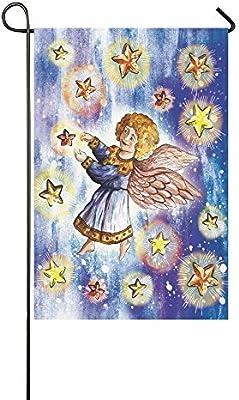 CHARMHOME Bandera de jardín para Decorar al Aire Libre, ángel religioso, 30 x 45 cm, diseño de Estrellas, para decoración de casa, decoración de casa de Noche, Bandera de Doble tamaño: Amazon.es: