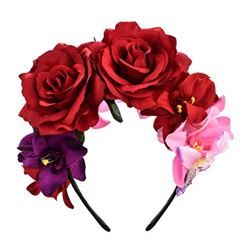 DreamLily Day of The Dead Headband Costume Rose Flower Crown Mexican Headpiece BC40 (Mexican Festival Crown)]()