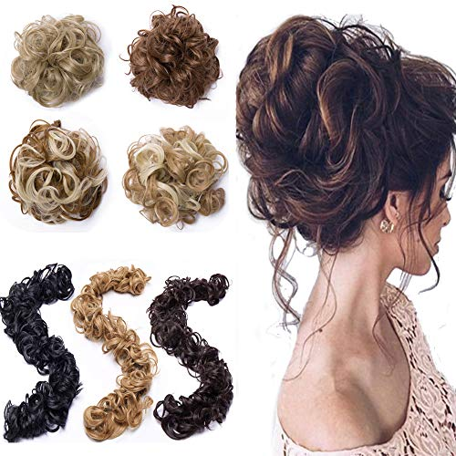 Elailite Curly Messy Hair Bun Maker Versatile Long Hair Wrap DIY Ponytail Extensions Chignon Magical Around Scrunchies Long Hair Band 85g Long Hair Band-Light ()